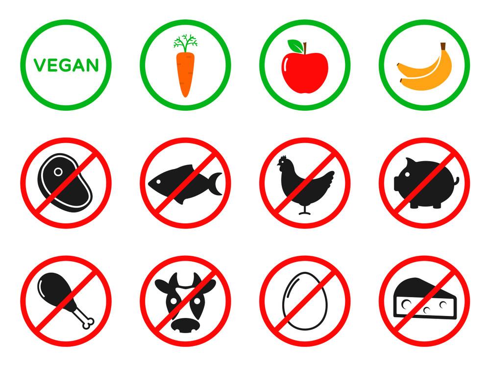 Foods prohibited in a vegan diet