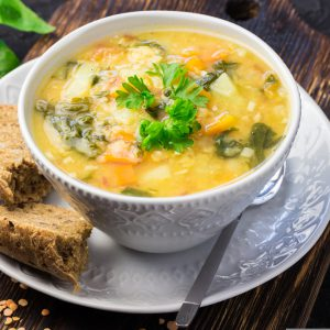 Coconut Lentil Soup and Caraway Roasted Vegetables