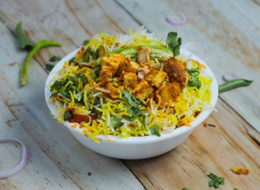 Vegetable Biryani & Mango Chutney with Indian Butter Tofu