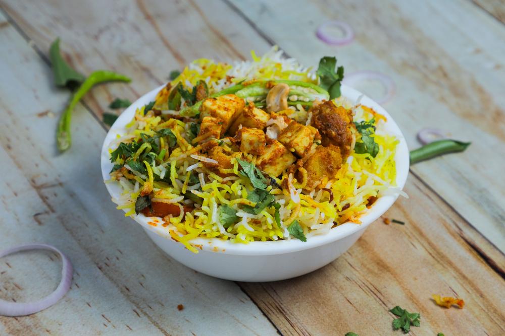 Vegetable Biryani & Mango Chutney with Indian Butter Tofu