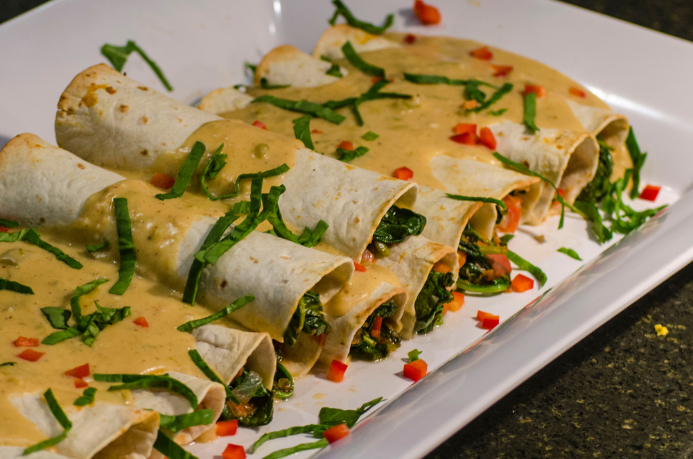 Bean and spinach Enchiladas
